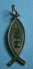 Vintage enamel ichthys ichthus silver tone charm