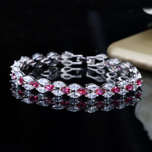 CWWZircons Stunning Cubic Zirconia Blue Chain Bracelet Bridal Wedding Jewelry