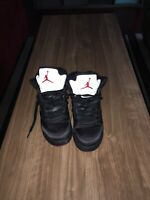 2018 Nike Air Jordan 5 Retro GS SZ 6.5Y Satin Bred Black Fire Red OG 440888-006