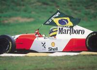 Ayrton Senna Formula One F1 Marlboro Racing Car Brazilian Flag Photo