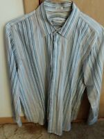 Calvin Klein Multi Color Striped Button Down Shirt Size L