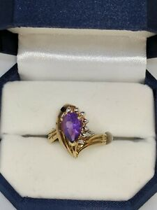 Vintage Ring 10 X 7 Pear Shape Amethyst in 14k Solid Yellow Gold Mounting Size 8