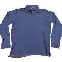 ETRO Milano Men's Long Sleeve Distressed Polo Shirt Navy Blue Knit Cotton XL
