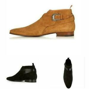 British Men Real Suede Leather Chelsea Boots Shoes Pointy Toe Cowboy Formal 47 M