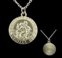 "16"" to 24"" Silver Plated Mens St Saint Christopher Pendant Womens Necklace Chain"