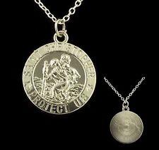"16"" - 24"" Silver Plated Men St Christopher Pendant Women Necklace Chain 40-60 cm"
