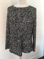 Jacqui E Black & White Cotton Mix Loose Fit Jumper Sweater - Size XL (12-14)