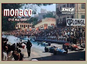 1969 Monaco 27th Grand Prix Automobile Race Car Advertisement Vintage Poster