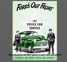 1947 FORD Police Car PHOTO Vintage Ad Policeman Tommy Gun