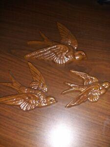 Vintage Burwood Swallows Wall Decor USA Hangings Set of 3 2650 1983 Bird Art