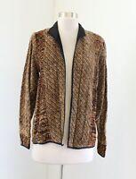 Laura Fisher Bonvallet Fibre Arts Brown Black Tan Knit Jacket Open Front Size 1
