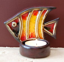Red and Yellow Ceramic Glass Fish Candle/ Night Light Holder Hand Made Bathroom