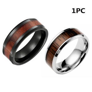 Creative Jewelry Men Vintage Tungsten Steel Ring Band Wood Stainless Steel
