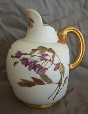 Royal Worcester #1094 Blush Ivory Gilded FLAT BACK PITCHER / EWER / JUG 8 3/4""