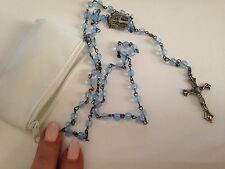 nice new  Rosary beads Pale Blue  catholic with white pouch cross crucifix Mary