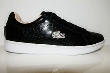 LACOSTE CARNABY EVO CROC SPW BLACK LEATHER WOMENS TRAINERS BNIB UK 3