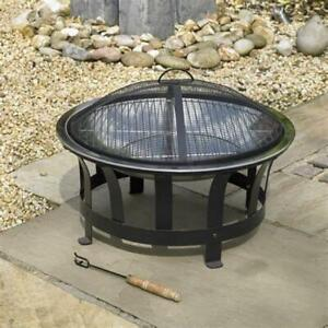 Kingfisher Outdoor Round Fire Pit Black Steel Garden Heater with BBQ Grill & Lid