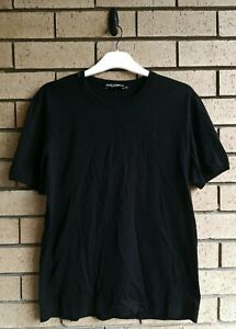 Dolce & Gabbana Mens Black Round Neck T-shirt Size IT 52 Made in Italy