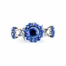 Metal Hair Claw Clip Hairpin Rhinestone Crystal Vintage Elegant Small Blue 008