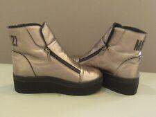 MEZZI Label Silver and Black Platform Boots Dual Zippers Size 37 US 6.5