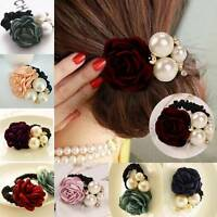Women Girls Satin Ribbon Rose Flower Pearls Hairband Ponytail Holder Hair Band