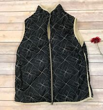 Aventura Women's Quilted Vest Small Black Tan Fleece Lined Embroidered S