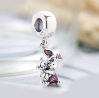 Genuine S925 Sterling Silver Disney Piglet Winnie-the-Pooh Pendant Charm + pouch
