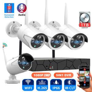 Funk Außen 1080P HD Home Überwachungskamera System CCTV 4CH NVR WLAN Outdoor Set