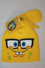 NEW Toddler Beanie Hat Mittens 2 Pc Set Yellow SpongeBob Acrylic Knit Cap Unisex