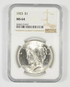 MS64 1923 Peace Silver Dollar - Graded NGC *632