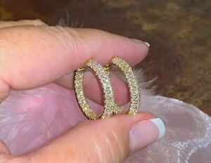 2Ct Round Cut Diamond Attractive Women's Hoop Earrings 14k Yellow Gold Finish