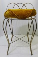 VTG METAL VANITY BATHROOM STOOL CHAIR GOLD TONE WITH GOLD REMOVABLE CUSHION