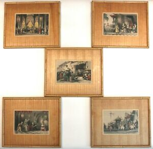 Five Framed THOMAS ALLOM Hand Colored Chinese Colored Engraving Prints Aug. Fox