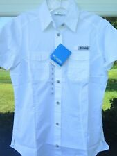 Womens Columbia PFG All Cotton White Outdoors Vented Fishing Shirt Large NWT NEW