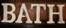BATH LARGE SHABBY  WALL HANGING CHIC VINTAGE WHITEWASH WOODEN LETTERS 15CM