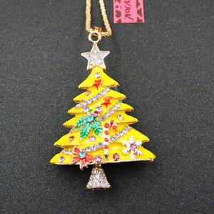 New Yellow Bling Christmas Tree Crystal Betsey Johnson Pendant Women Necklace
