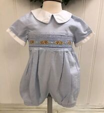CARRIAGE BOUTIQUES Blue White Brown Smocked Puppy Dogs One Piece Romper ~