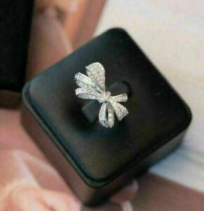 Ribbon Bow Style Engagement & Wedding Ring 14K White Gold 2.26 Ct Round Diamond