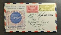 1938 Baltimore Maryland First Flight Cover to Bermuda Via Bermuda Clipper