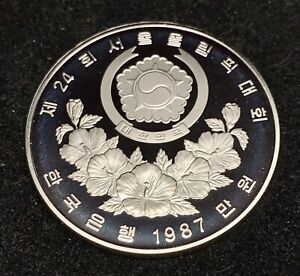 1 oz 1987 South Korea Sterling Silver 10000 Won PROOF 1988 Seoul Olympiad DIVING