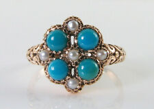 LARGE 9K 9CT ROSE GOLD PERSIAN TURQUOISE PEARL CLUSTER ART DECO INS RING Free Sz