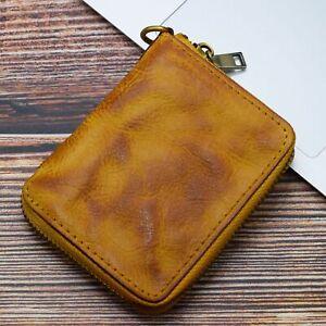 Vintage Men Wrinkled Short Wallets Money Clip Bifold Coin Pocket Small Purses