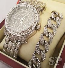 Men Hip Hop Iced White Gold PT Simulated Diamond WATCH & Cuban Bracelet Gift Set