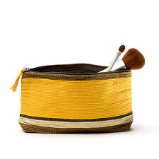 Cosmetic Bag Hand Woven Abaca Banana Leaf Paper Dyed Enesco OSM Yellow and Gray