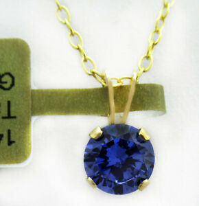 GEMSTONE AAA TANZANITE 0.84 Cts PENDANT 14k GOLD * New With Tag * Free Chain