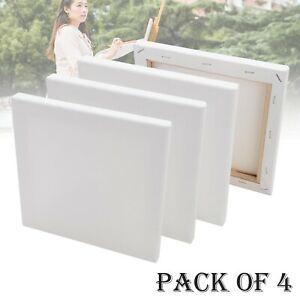 4 Pack Blank Artist Canvas Art Board Plain Painting Stretched Framed Large White