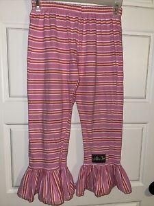 Matilda Jane Clothing Big Ruffle Pink/White/Orange Striped Pants Size 8