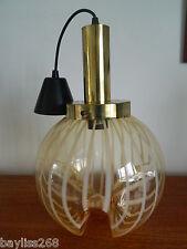 Stunning Retro DAR Ceiling Light,Amber Striped/Clear Glass Globe Gilt Fittings~