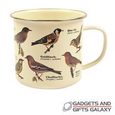 Garden Birds Enamel Mug Bird Watching Robin Blue Tit Goldfinch Novelty Gift