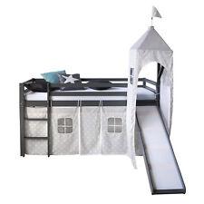 Hochbett Spielbett Kinderbett Rutsche Turm Vorhang grau 90x200 Jugendbett